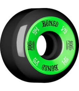 Bones 100's V5 54mm Green on Black Skate Wheels
