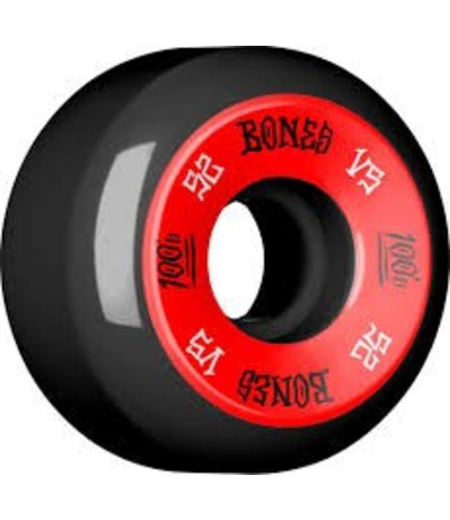 Bones 100's V5 52mm Red on Black Skate Wheels