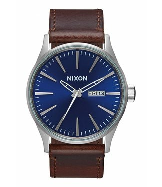 Nixon Sentry Leather Blue / Brown 42mm Watch