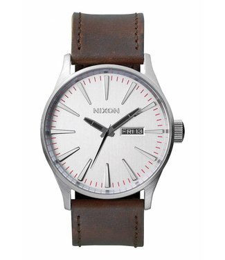 Nixon Sentry Leather Silver / Brown 42mm Watch