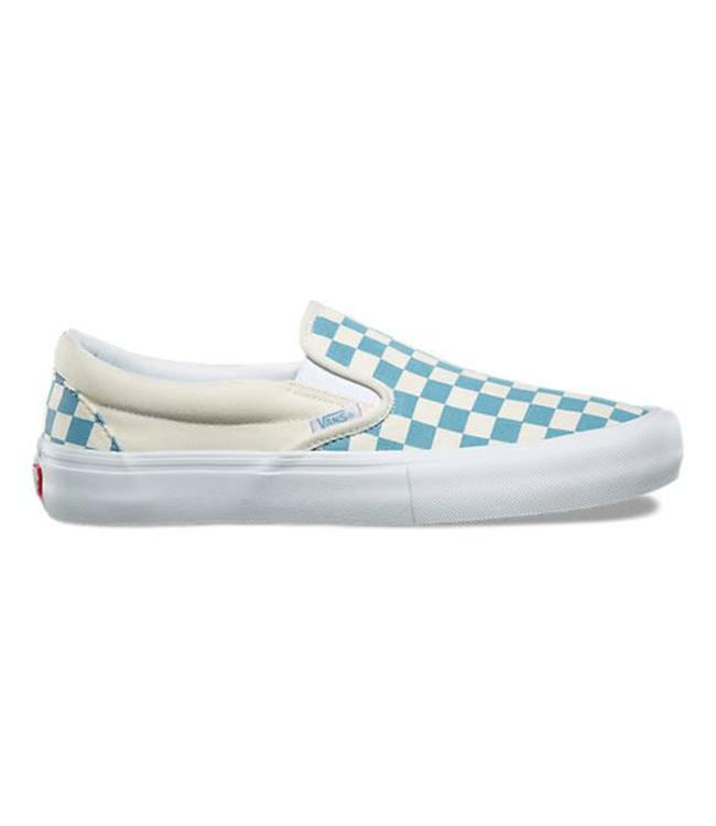vans checkerboard slip on light blue