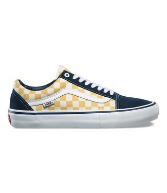 Vans Checkerboard Old Skool Pro Dress Blues and Ochre Skate Shoes