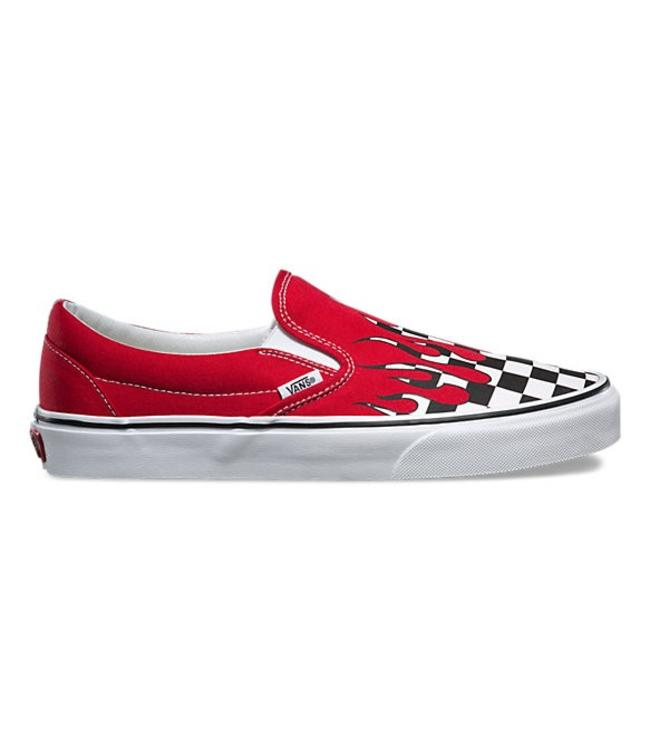 98cd69f7498f75 ... Vans Checker Flame Racing Red and White Slip-on Shoes . ...