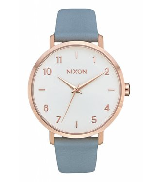 Nixon Arrow Rose Gold and Blue Leather Watch