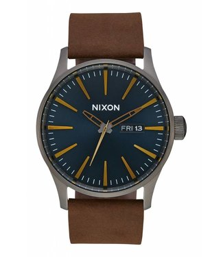 Nixon Sentry Leather Gunmetal and Indigo Watch