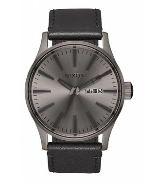 Nixon Sentry Gunmetal and Black Leather Watch