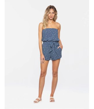 TAVIK Kinsley Strapless Muted Indigo Dot Romper