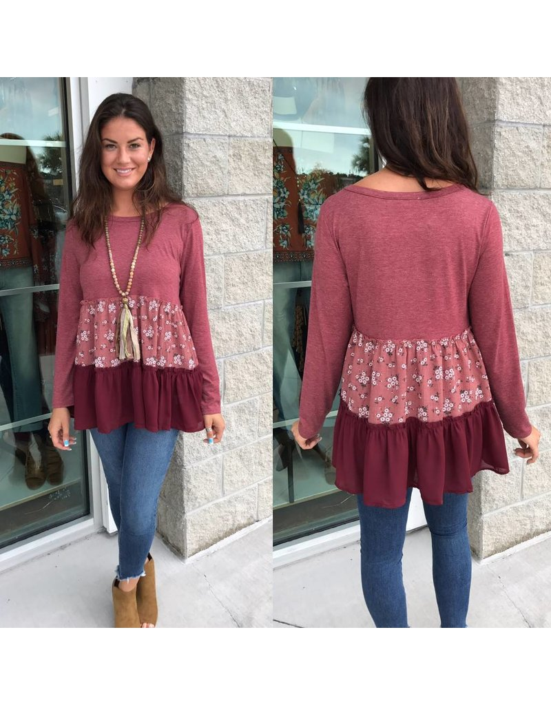 Floral Detail Tunic - Ruby