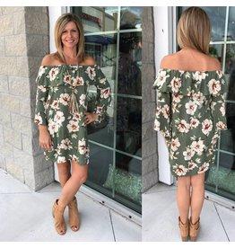 Off Shoulders Floral Dress - Green
