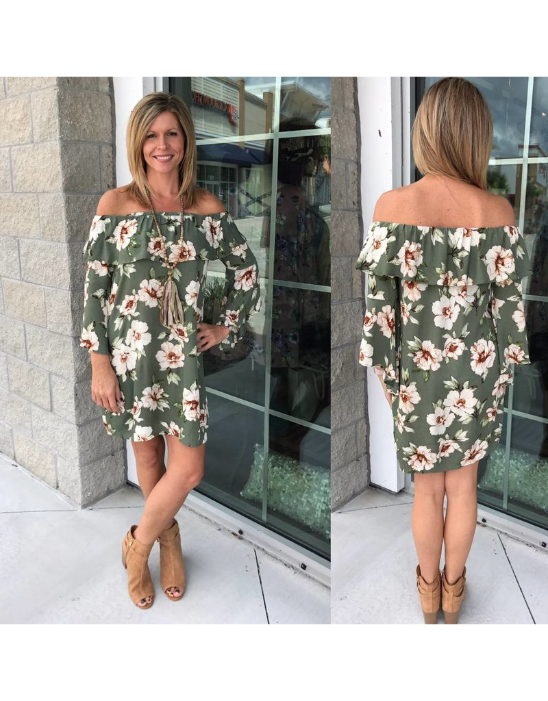 Off Shoulders Floral Dress - Green