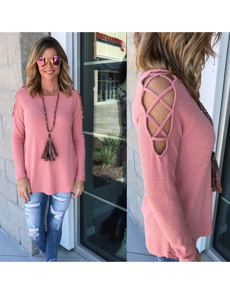 Lace Up Shoulder Tunic - Peach