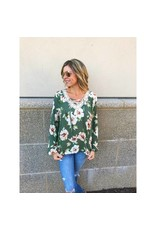 Lace Up Floral Top - Olive