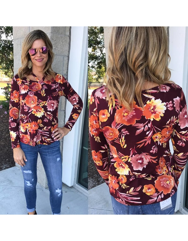 Strappy Detail Floral Top - Burgundy