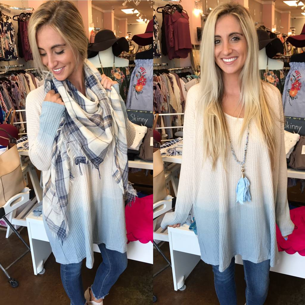 Ombre Waffle Tunic - Blue