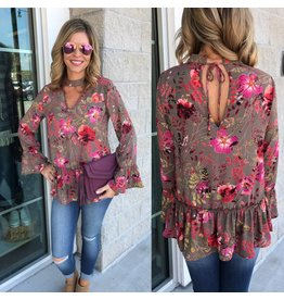 Keyhole Floral Top - Cocoa