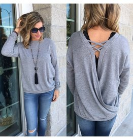 Open Back Knit Top - Grey