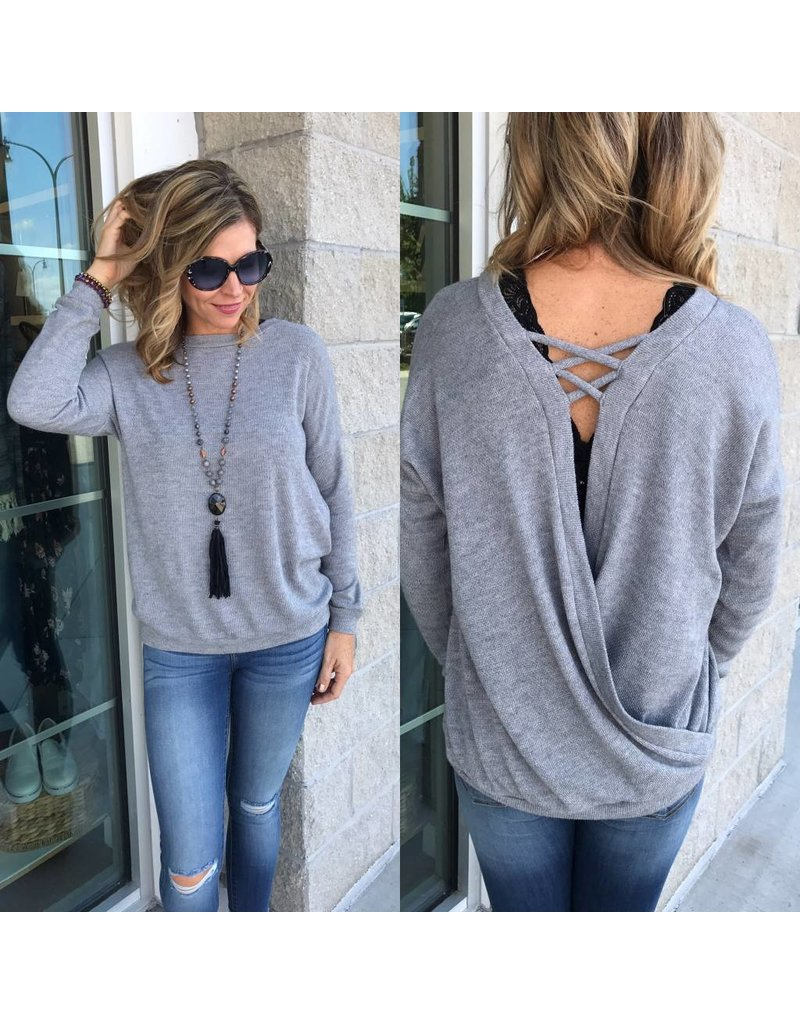 Open Back  Knit Top - Grey