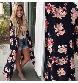 Floral Duster - Navy