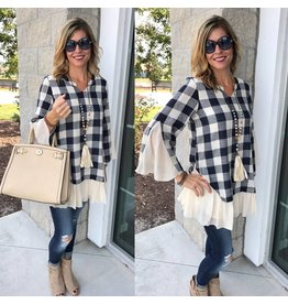 Plaid Tunic - Navy