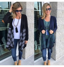Plaid Detail Cardigan