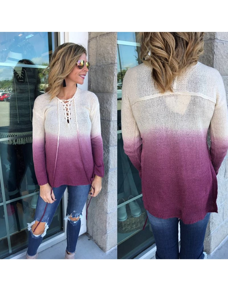Lace Up Ombre Sweater - Burgundy