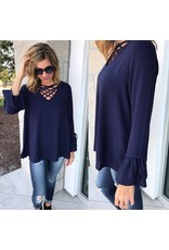 Strappy Detail Blouse Top - Navy