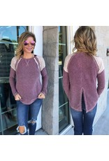 Lace Detail Knit  Top - Burgundy