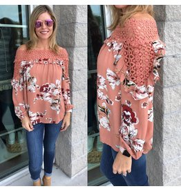 Crochet Neckline Floral Top - Rose Brown
