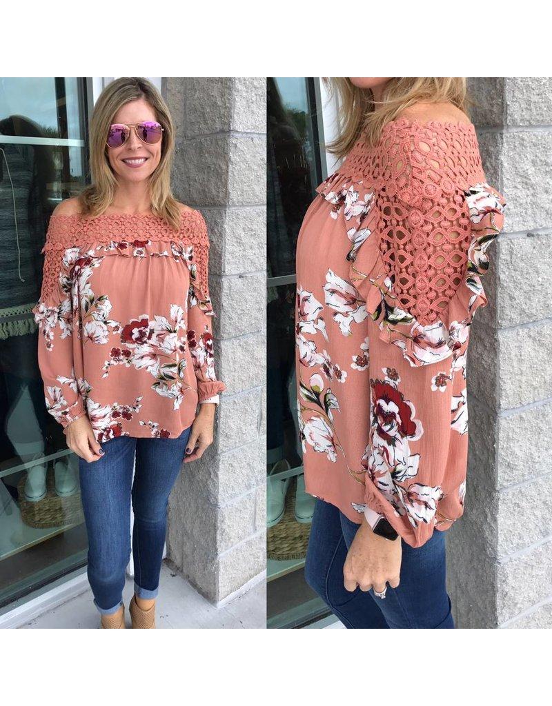 Crochet Neckline Floral Top - Rose Brown