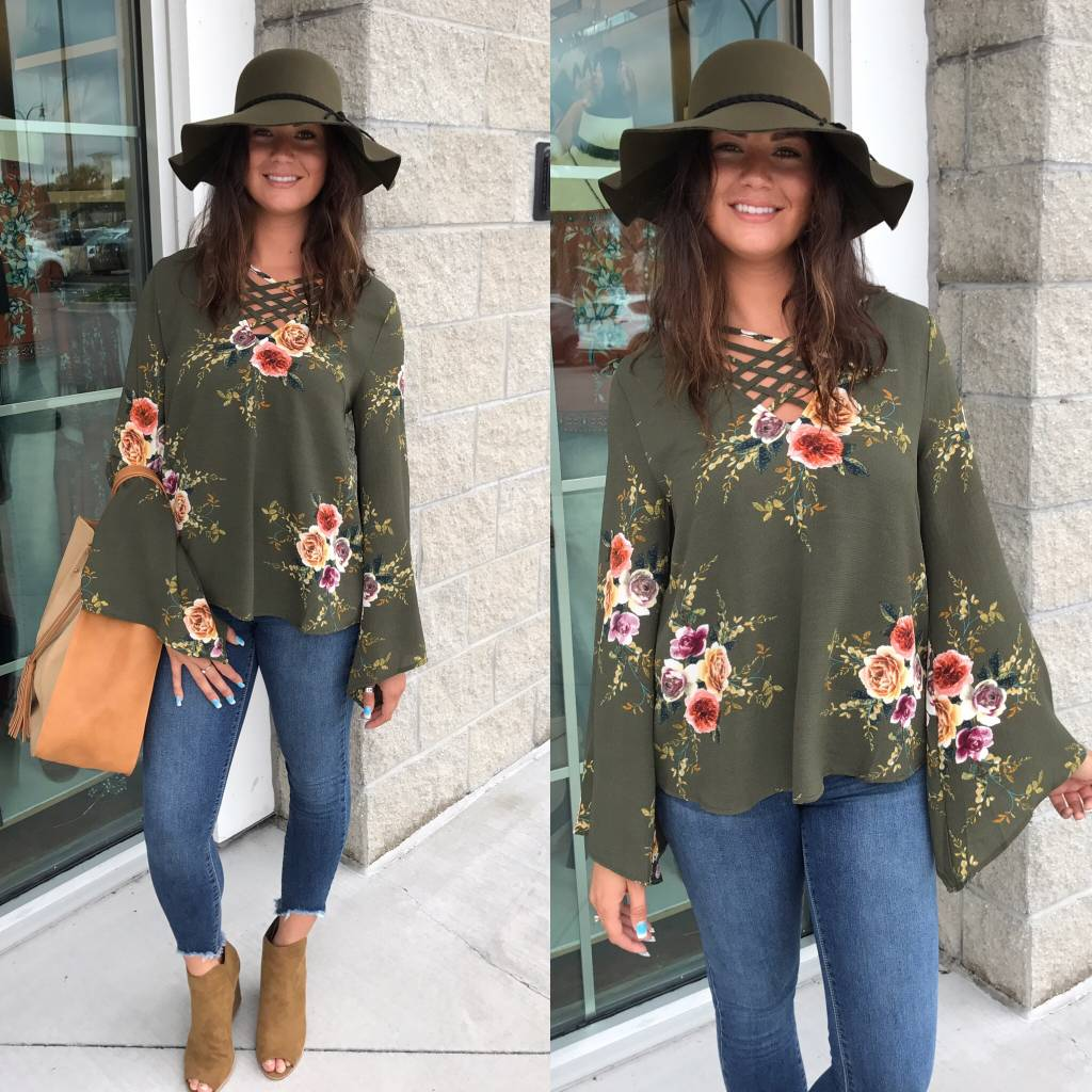 Strappy Detail Floral Top - Olive