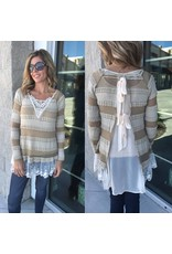 Lace Detail Knit Tunic - Taupe