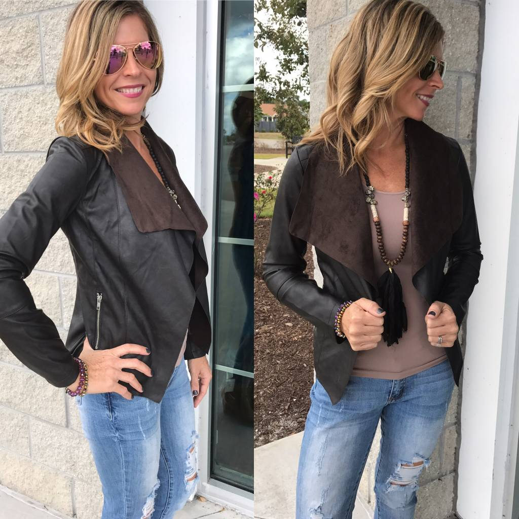 Vegan Leather  Jacket - Brown