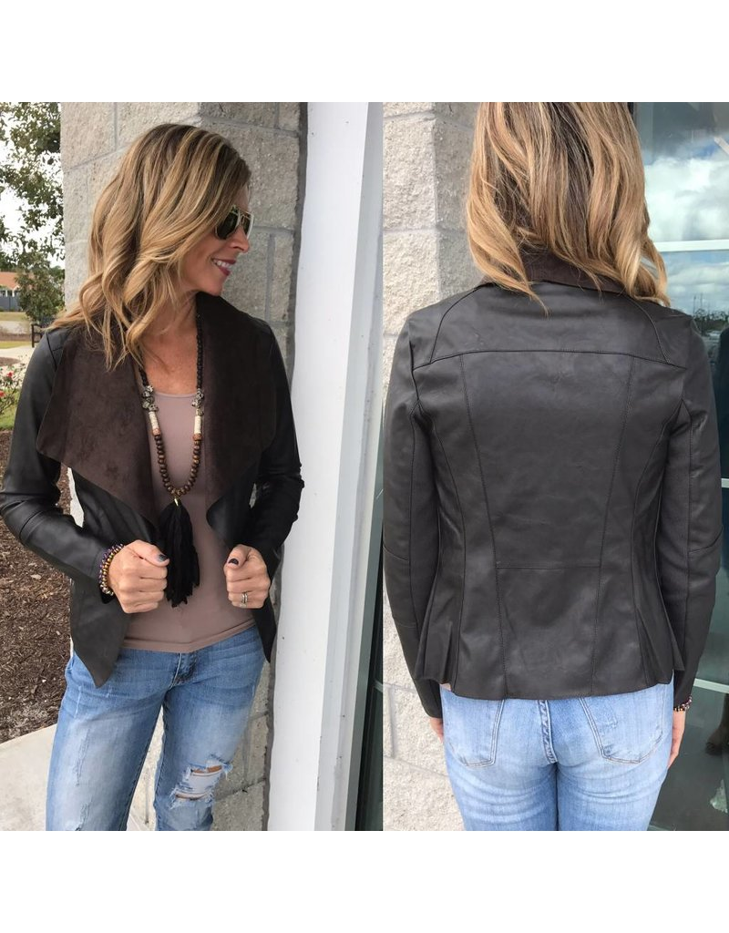 Vegan Leather  Jacket - Brown