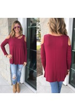 Cold Shoulder Slit Neckline Top - Burgundy