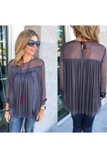 Pleated Detail Top - Charcoal