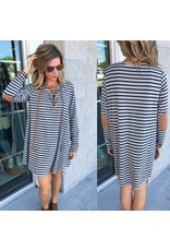 Striped Elbow Patches Dress - Grey