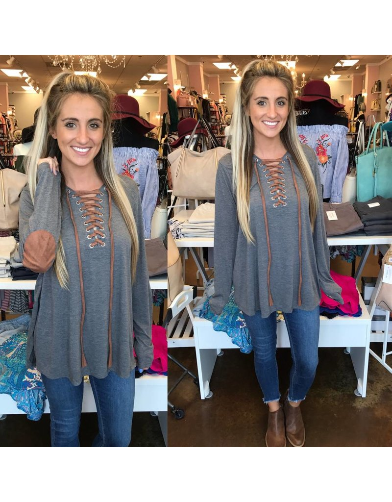 Elbow Patches Lace Up Tunic - Grey