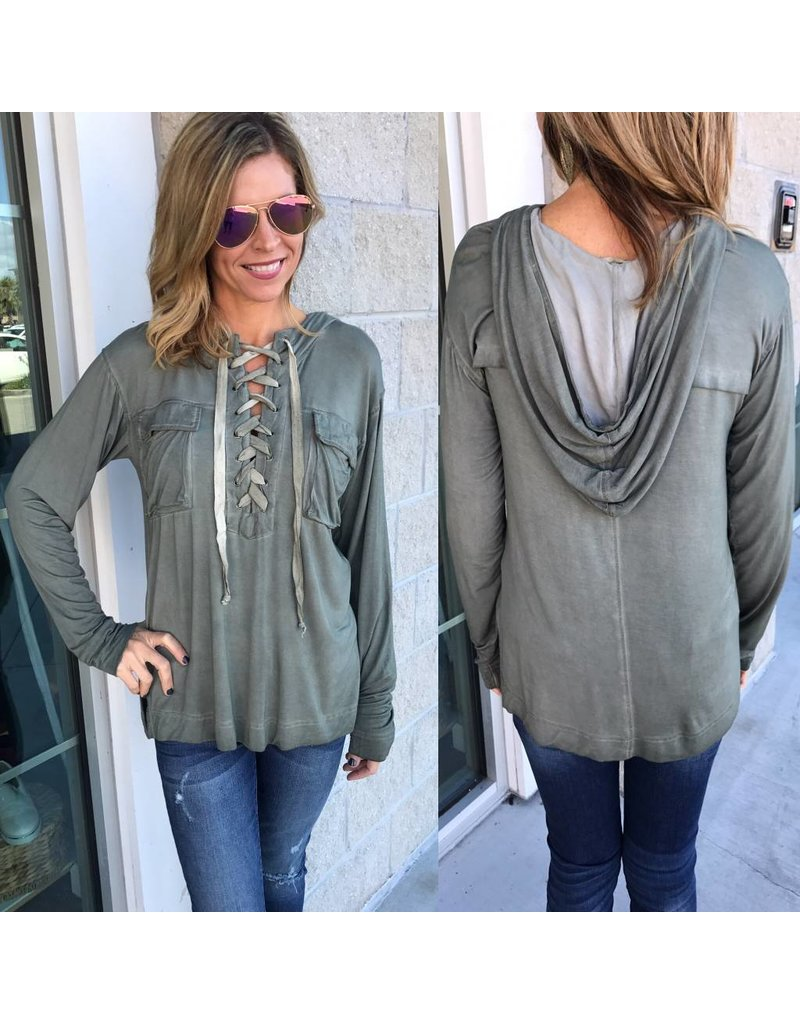 Lace Up Hoodie Tunic - Olive
