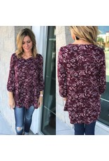 Floral Knit Tunic - Wine