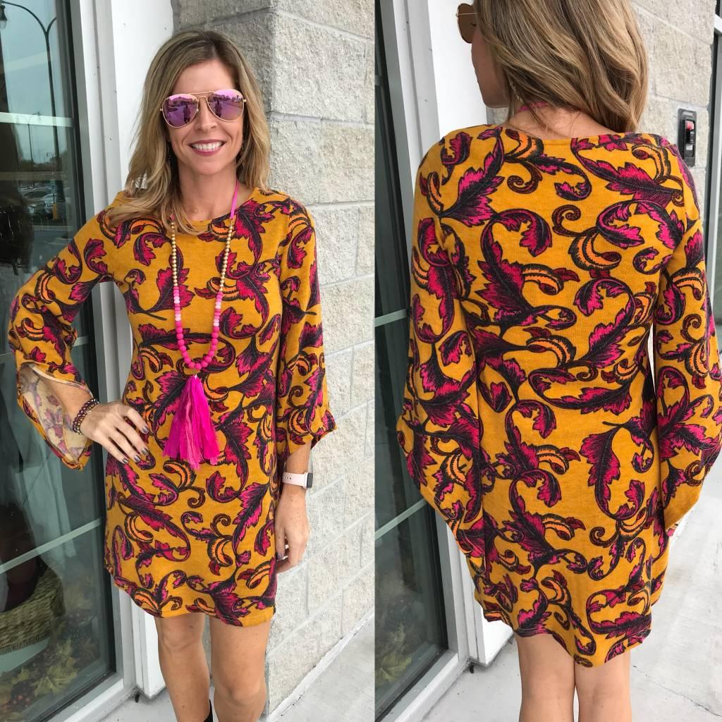 Floral Sweater Dress - Mustard