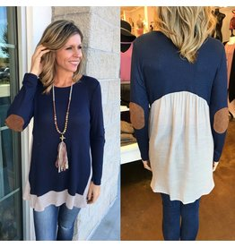 Elbow Patches Tunic - Navy