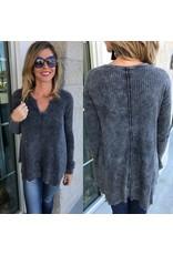 Vintage Havana Assymetrical Hem Sweater - Grey