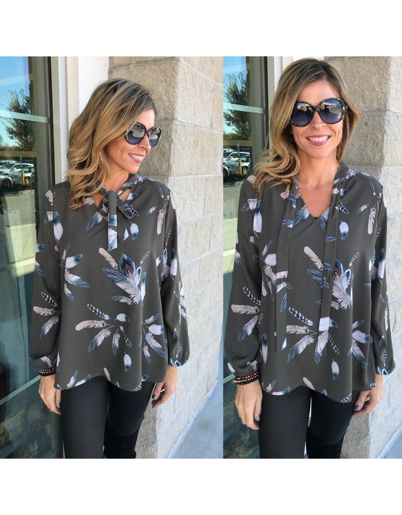 Feather  Print Top - Grey