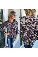 Animal Print Sweater Top - Mauve