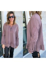 Crochet Detail Top - Dark Mauve