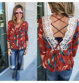 WFS Feathers Print Top - Rust