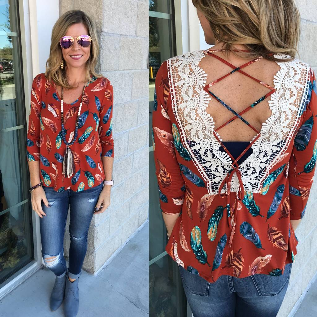Feathers Print Top - Rust