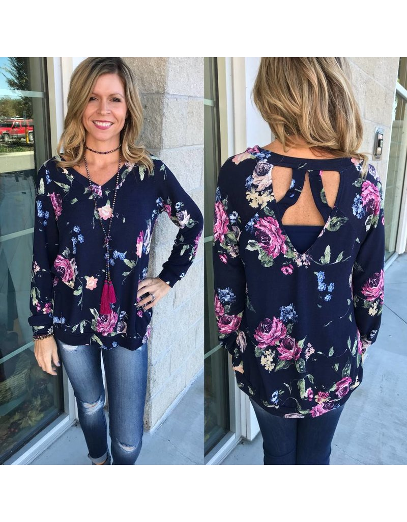 Floral Knit Tunic - Navy