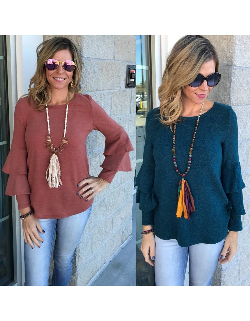 Ruffle Sleeves Knit Top
