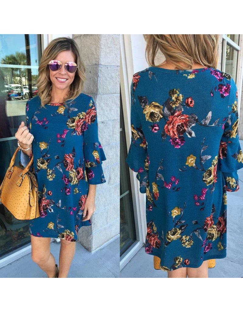 Knit Floral Dress - Teal